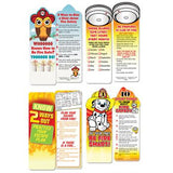 Assortment Pack of Fire Safety Bookmarks, 100 total, 25 of each design-Do Your Part Be Fire Smart, Know 2 Ways Out, Test Smoke Alarms, Be Fire Safe