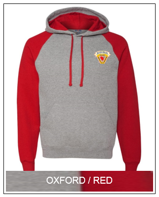 WSFIA  Colorblock Raglan Pullover with Hood Oxford/Red