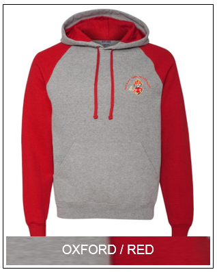 WSFA  Colorblock Raglan Pullover with Hood (Oxford/Red)