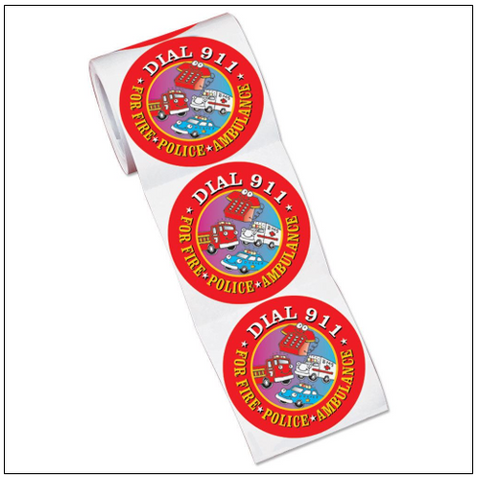 Stickers-On-A-Roll Dial 9-1-1  RS-504