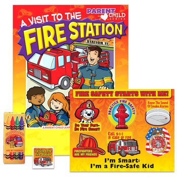 Visit to the Fire Station Activity Book, Sticker Sheet, and box of 4 nontoxic crayons packaged in plastic bag