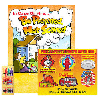 Fire Safety Kit with Be Prepared Not Scared Activity Coloring Book, Fire Safety Stickers and Box of 4 Nontoxic Crayons packaged in plastic bag