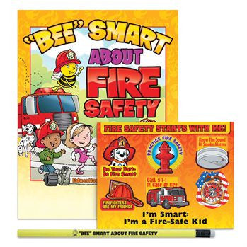 3 Item Fire Safety Educational Kit contains I Can BEE Smart About Fire safety coloring book, fire safety stickers, heat sensitive pencil