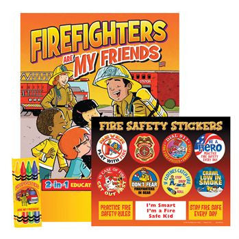 Firefighters Are My Friends Activity Coloring Book with Fire Safety Stickers and box of 4 nontoxic crayons packaged in plastic bag