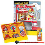 Fire Safety Fire Dogs to the Rescue coloring book, stickers, pencil, crayons, pencil topper eraser packaged in plastic bag