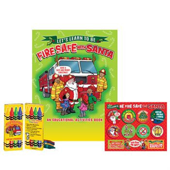 Santa Knows Fire Safety Value Kit with activity book, sticker sheet and crayons
