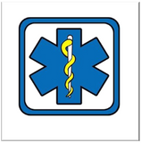 Blue Star of Life, the six-pointed emblem with the staff of Asclepius
