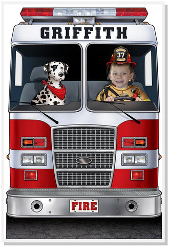 Photo Prop Large--Fire Engine with Dalmatian