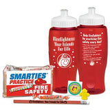 Firefighters Water Bottle Kit contains red 28 oz water bottle with safety messages, temporary tattoo sticker, Smarties treat bag and pencil topper