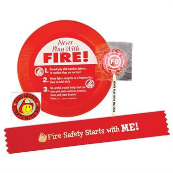 Mini Flyer Fun Pack with Red Flyer, Satin Red Ribbon Bracelet, Temporary Tattoo, and Lollipop. All with fire safety messages packaged in plastic bag