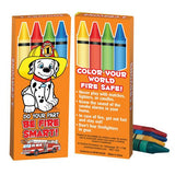 Colorful orange Pack of 4 crayons with Dalmatian and Fire Safety Theme Do Your Part be Fire Smart