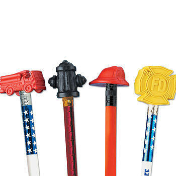 Pencil Top Erasers Pack includes Fire Truck, Helmet, Hydrant and Maltese Cross shapes 25 erasers per pack