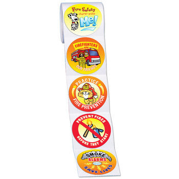 Colorful Fire Prevention Stickers on a roll. 200 per roll