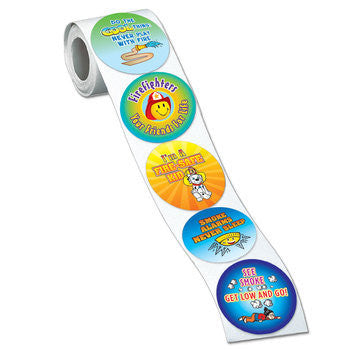Colorful Fire Safety Stickers on a roll, 200 per roll 5 designs