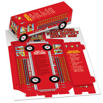Practice Fire Safety Fire Truck Paper Cutout for kids to assemble