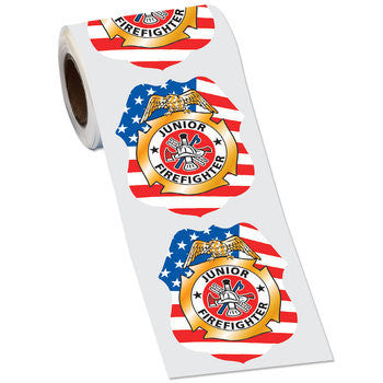 Gold Foil PatrioticJr. Firefighter Badge Shape Stickers On-A Roll   RS-1033