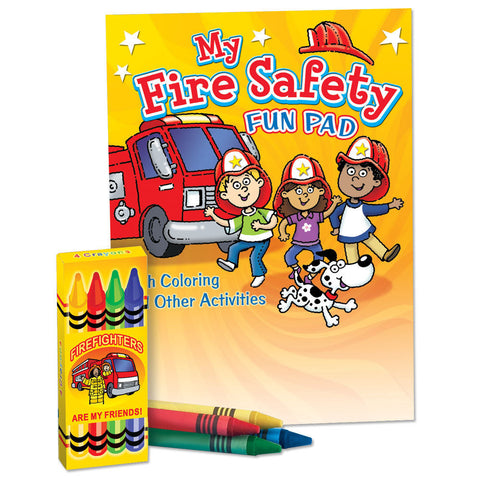 Fire Safety Coloring and Activity Pad with Box of 4 Crayons packaged in plastic bag