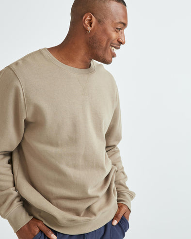 RICHER POORER MEN'S RECYCLED FLEECE CREW SWEATSHIRT - WARM GREY