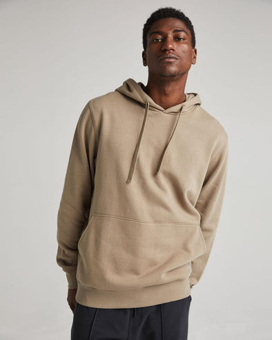 RICHER POORER RECYCLED FLEECE HOODIE - WARM GREY