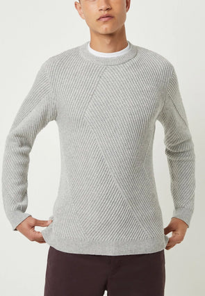 FRENCH CONNECTION FASHION RIB KNIT JUMPER- LIGHT GREY MEL