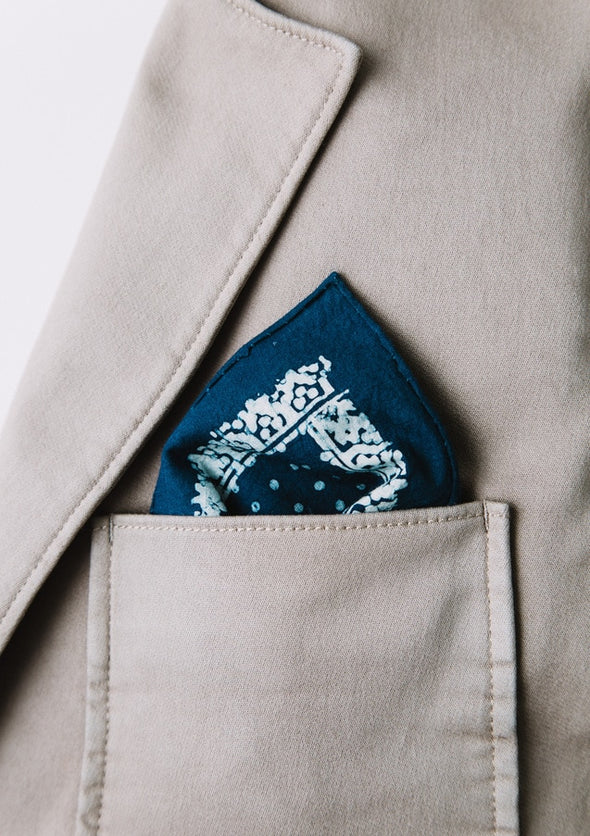 MUUR POCKET SQUARE- INDIGO DOT