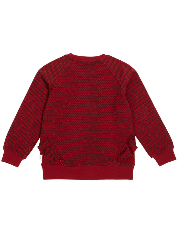 MILES GIRLS PIXEL HEART RUFFLED CREW NECK SWEATER - RED