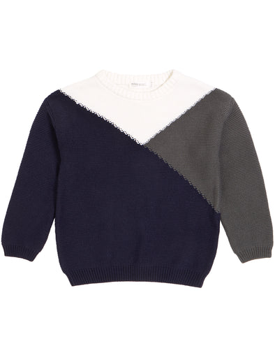MILES KIDS NAVY MOUNTAIN COLOR BLOCK KNIT SWEATER