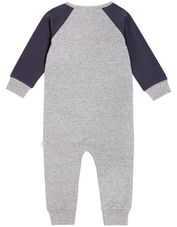 MILES INFANT TRACK KNIT PLAY SUIT - HEATHER GREY/BLUE