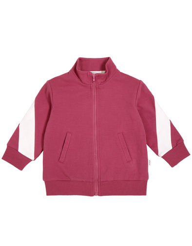 MILES INFANT ZIP-UP BABY TRACK JACKET - DUSTY PINK