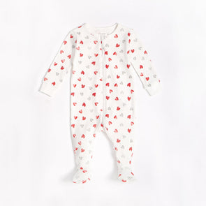 "PETIT LEM INFANT SLEEPER - WHITE ""HEARTS"""