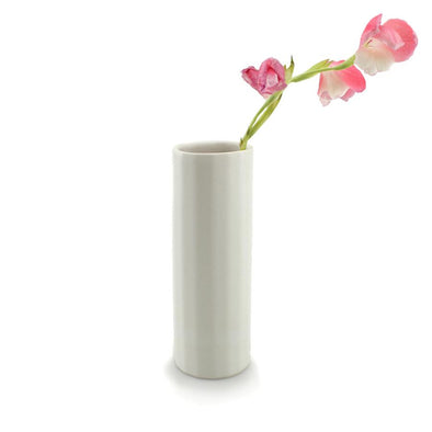 THE BRIGHT ANGLE BLOOM VASE- SILK WHITE SATINE MATTE
