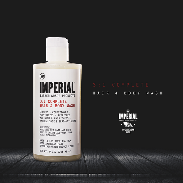 IMPERIAL BARBER  3:1 COMPLETE HAIR & BODY WASH