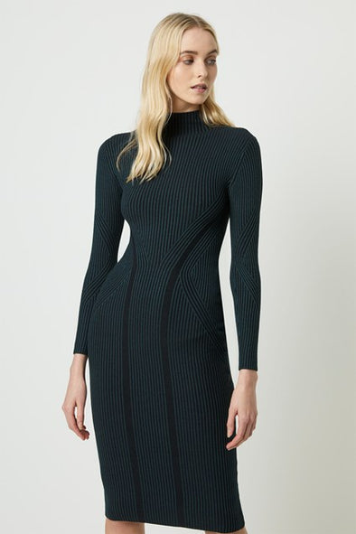 FRENCH CONNECTION SIMONA BODYCON HIGH NECK DRESS - TWILIGHT GREEN/BLACK