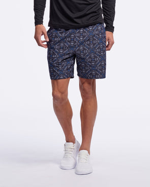 "RHONE GURU 7"" UNLINED SHORT- AZTEC DIAMOND PRINTED NAVY"