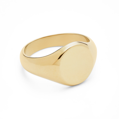 PHYLLIS & ROSIE OVAL SIGNET RING- 14K GOLD FILLED