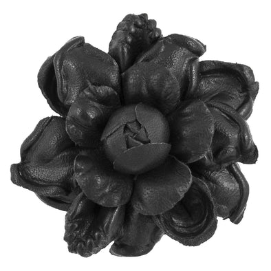FLEUR'D LEATHER LAPEL PIN BLACK BAROQUE BEGONIA
