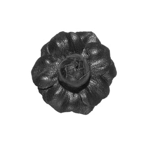 FLEUR'D MINI LEATHER LAPEL PIN- BLACK GARDENIA