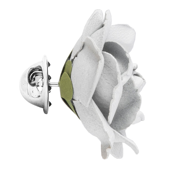 FLEUR'D LEATHER LAPEL PIN- WHITE ELLA ROSE