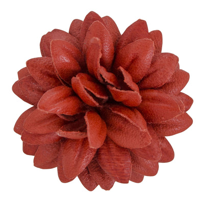 FLEUR'D LEATHER LAPEL PIN- CORAL DAHLIA