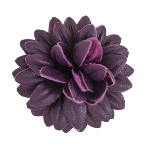 FLEUR'D LEATHER LAPEL PIN- PURPLE DAHLIA