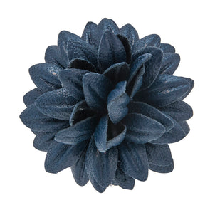 FLEUR'D LEATHER LAPEL PIN- NAVY DAHLI