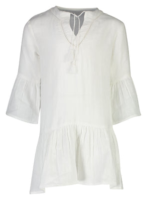 SNAPPER ROCK GIRLS WHITE ORGANIC COTTON KAFTAN