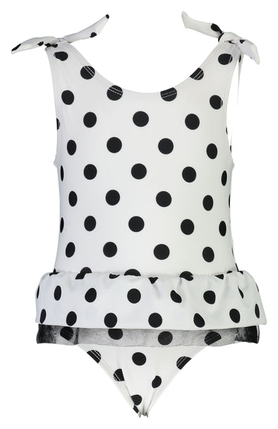 SNAPPERROCK BABY GIRL BLACK & WHITE SPOT SKIRT SWIMSUIT