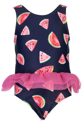 SNAPPERROCK BABY GIRLS SLICE OF LIFE SKIRT SWIMSUIT