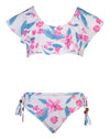 SNAPPERROCK GIRLS FUSCHIA LILY SHOULDER FLOUNCE 2- PIECE BIKINI