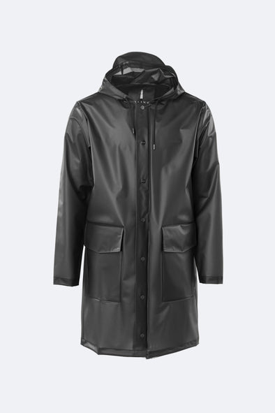 RAINS UNISEX TRANSPARENT HOODED COAT - FOGGY BLACK