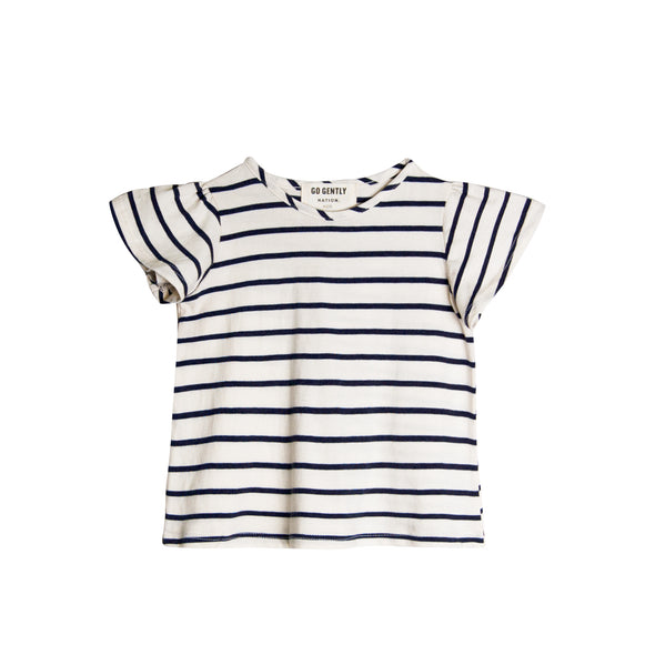 GO GENTLY NATION JERSEY FLUTTER TEE- NAVY STRIPE