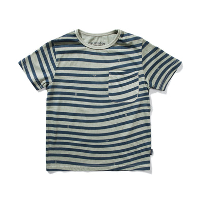 MUNSTERKIDS WAVES TEE- WASHED OLIVE