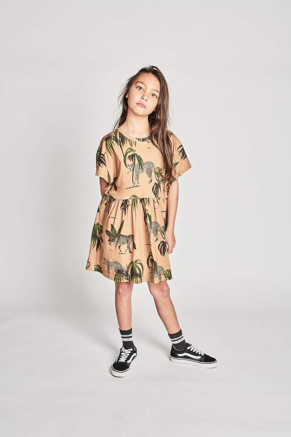 MUNSTERKIDS GIRLS JANGALOW DRESS - PALM LEOPARD