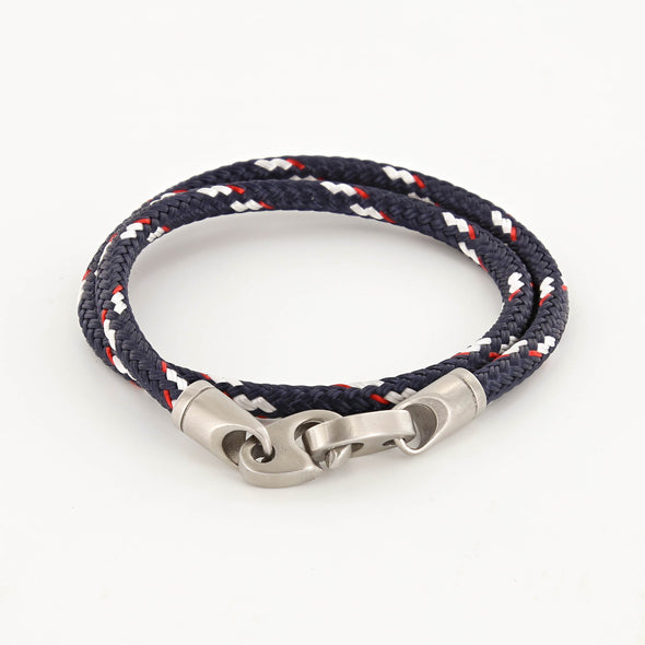 SAILORMADE CONTENDER DOUBLE ROPE BRACELET- NAVY/RED/WHITE